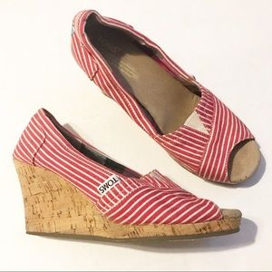 Toms red striped peep toe wedges